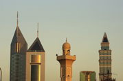 United Arab Emirates, Dubai, Mosque and Emirates Towers
